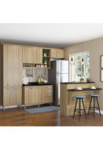 Cozinha Compacta 11 Portas 3 Gavetas Com Tampo E Bancada 5846 Argila - Multimóveis
