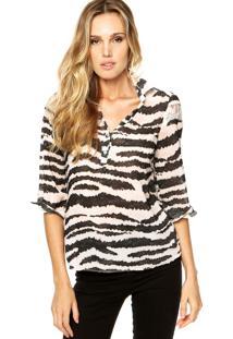 Camisa Malwee Print Renda Branca/Preta