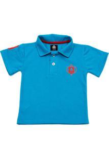 Camisa Polo Otto Escudo Azul Com Bordado Vermelho