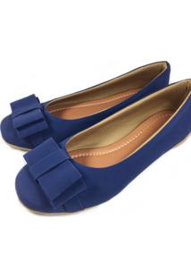 Sapatilha Likka Calçados Bico Redondo Com Laço Azul Marinho