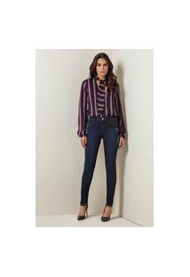 Calça Jeans Lado Avesso Curve Skinny Azul Tam. 44