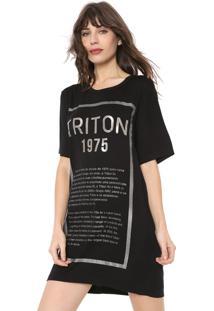 Vestido Triton Curto Lettering Preto