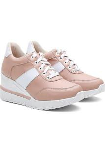 Tênis Sneaker Vicerinne Salto Alto Anabela Conforto Feminino - Feminino-Nude