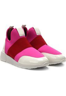 Tênis Zatz Com Elástico Feminino - Feminino-Pink+Vermelho