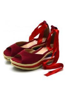 Sandália Anabela Salto Médio Tiras Paralelas Em Nobucado Vermelho