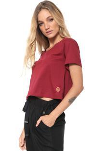 Camiseta Cantão Cropped Lisa Vinho