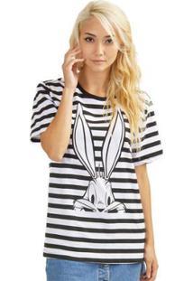 T-Shirt Bandup Pernalonga Tracing - Feminino-Preto+Branco
