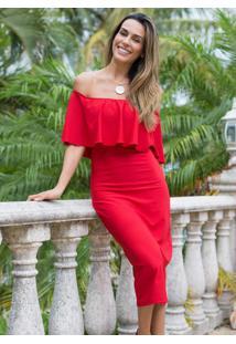 Vestido Ombro A Ombro Vermelho