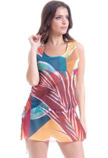Blusa 101 Resort Wear Tunica Regata Crepe Estampada Folhas Geométricas Multicolorida