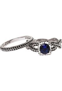 Anel Solitário Com Aparador The Ring Boutique Pedra Cristal Azul Safira Ródio Ouro Branco