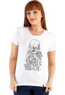 Baby Look Ouroboros Tentaculos Feminino - Feminino-Branco