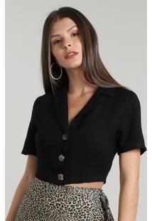 Camisa Feminina Cropped Com Botões Manga Curta Preta