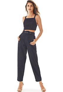 Top Morena Rosa Cropped Alca Com Recorte Jeans Jeans
