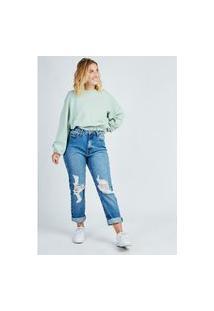 Calça Mom Jeans Blue Médio Com Rasgos Gang Feminina
