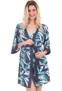Robe Curto Com Estampa De Folhagem Inspirate - Feminino-Verde Claro