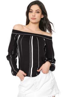 Blusa Cativa Ombro A Ombro Listrada Preta/Branca