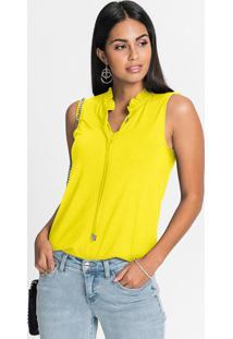 Blusa Com Babadinhos No Decote Amarelo