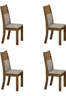 Conjunto Com 4 Cadeiras Havaí Ipê E Pena Palha