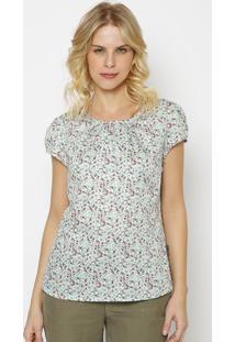 Blusa Floral Com Recortes Vazados- Off White & Verde Clavip Reserva