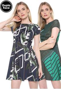 Vestido Forum Curto Dupla Face Estampado Azul-Marinho/Verde