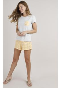 Pijama Feminino Com Bolso Estampado Xadrez Vichy Manga Curta Cinza Mescla