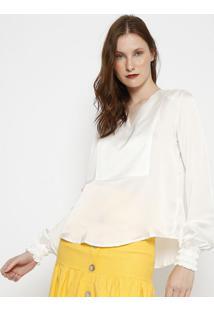 Blusa Acetinado- Branca- Linho Finolinho Fino