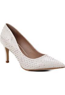 Scarpin Couro Shoestock Salto Médio Cobra - Feminino-Off White