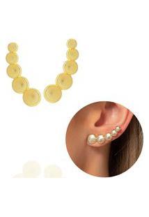 Brinco Ear Cuff Círculos Dourado