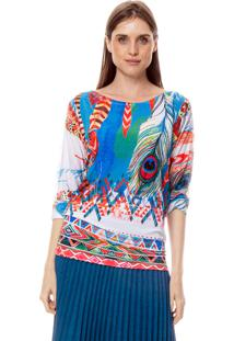 Blusa 101 Resort Wear Morcego Jersey Estampada Penas