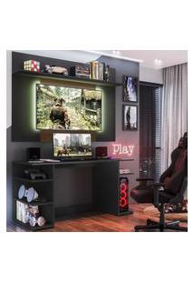 """Mesa Gamer Com Painel Tv 55"""" E Prateleira Guilda Plus Multimóveis Preto/Madeirado"""