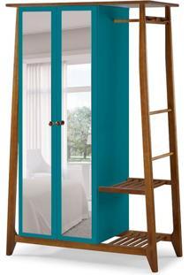 Guarda-Roupa Solteiro Stoka Com Espelho 2 Pt Nogal E Azul