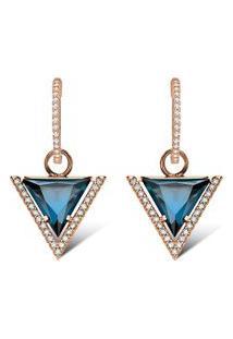 Brinco Ouro Rosé E Topázios London E Diamantes