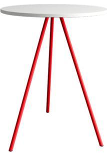 Mesa Lateral Gabriela Wood Branca E Vermelha