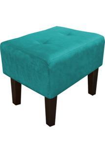 Puff Decorativo Livia Pés Chanfrado Suede Azul Tiffany - D'Rossi