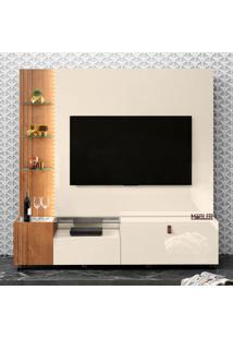Estante Para Home Theater E Tv Até 65 Polegadas Valência Off White E Nature