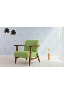 Poltrona Verde - Poltrona Retrô Estofada Com Pés De Madeira - Verniz Capuccino \ Tec.942 - Lótus 73X72X83 Cm