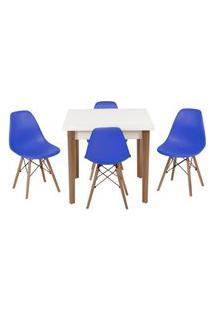 Conjunto Mesa De Jantar Luiza 80Cm Branca Com 4 Cadeiras Eames Eiffel - Azul