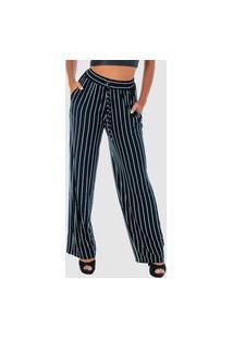 Calça Pantalona Fristyle Com Elástico Na Cintura Listrada Feminina Multicolorido