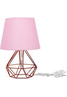 Abajur Diamante Dome Rosa/Bolinha Com Aramado Cobre