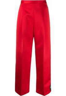 Christopher Kane Calça Cropped Com Aplicação De Patches - Vermelho