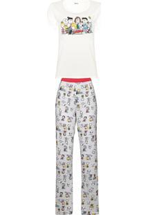 Conjunto De Pijama Estampado Feminino Em Manga Curta E Calça Estampada - Peanuts