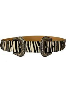Cinto Cintos Exclusivos Com Duas Fivelas Zebra