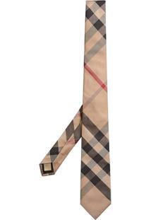Burberry Gravata De Seda Com Padronagem Xadrez - Nude & Neutrals