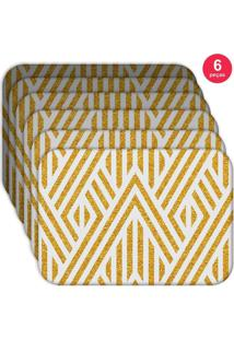 Jogo Americano Love Decor Wevans Abstract Yellow Kit Com 6 Pã§S - Multicolorido - Dafiti