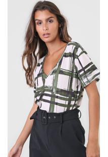 Camiseta Lanã§A Perfume Estampada Off-White/Verde - Off White - Feminino - Poliã©Ster - Dafiti