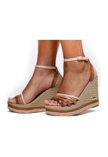 Sandália Anabela Plataforma Cores Moda Sb Shoes Ref.3268 Nude/Caramelo