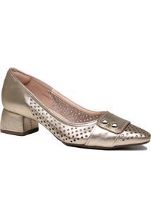 Sapato Scarpin Zariff Metalizado Salto Grosso