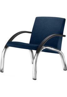 Poltrona Harmony Lounge Assento Courino Azul Braco Preto E Base Cromada - 55054 - Sun House