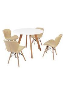 Mesa Inês 100Cm Branca + 4 Cadeiras Eiffel Slim - Nude