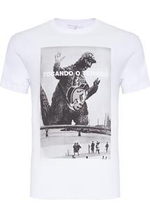 Camiseta Masculina Estampada Terror - Branco
